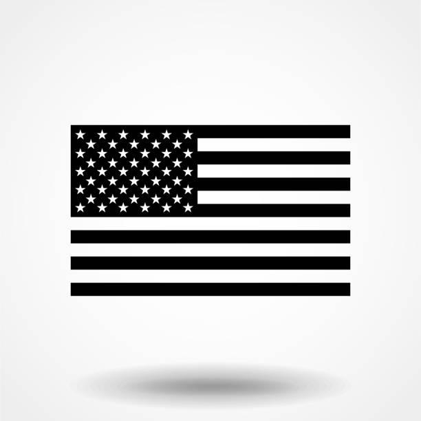 black and white american flag. - monochrom stock illustrations