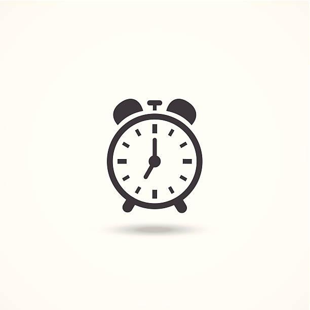 Black and white analog wind up alarm clock icon vector art illustration