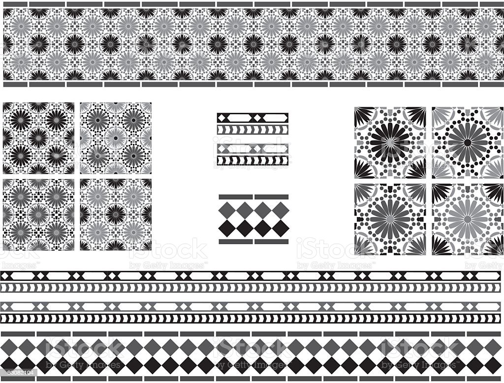 Black and white Andalusian Spanish, Moorish tiles vector art illustration