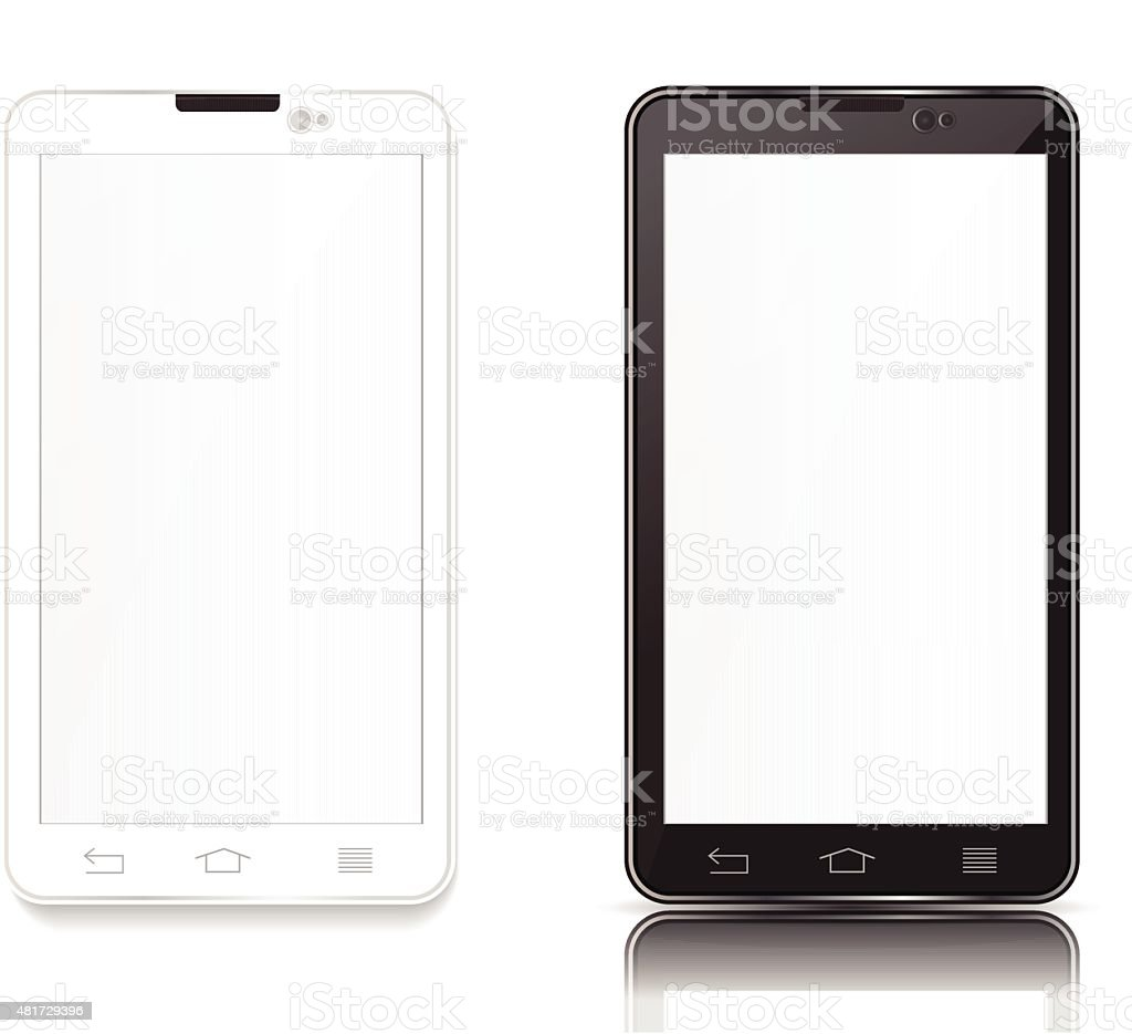 black and white android phone vector art illustration