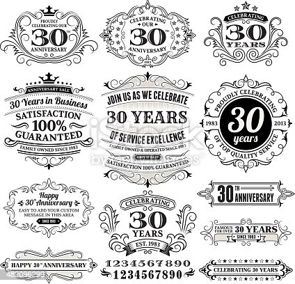 Thirty Year Anniversary Labels, Frames and Design Elements with Copy Space