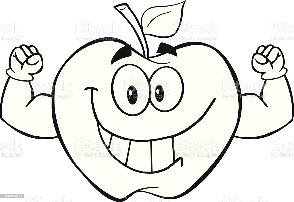 Cartoon Characters In Black And White : Black and white apple cartoon mascot character with muscle