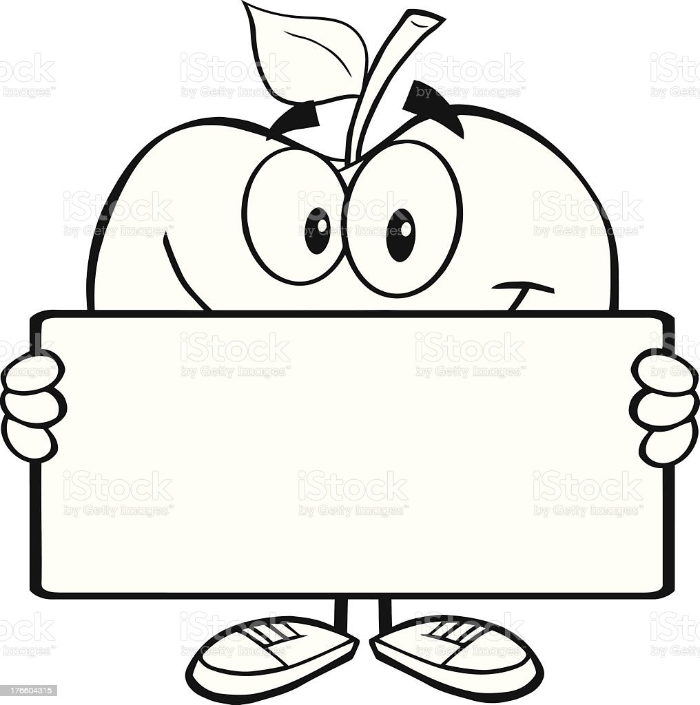 Apple preto e branco segurando um banner personagem arte vetorial apple preto e branco segurando um banner personagem apple preto e branco segurando um banner thecheapjerseys Images