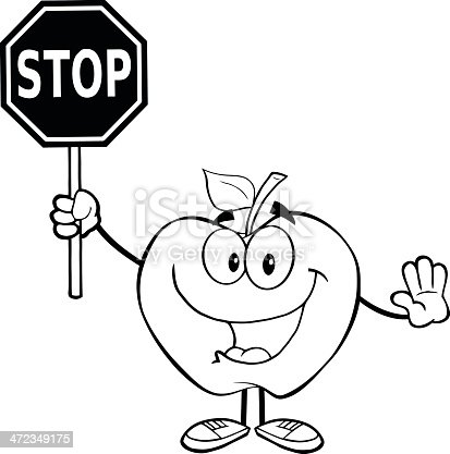 istock Blanco y negro Apple sostiene una señal de pare (Stop ...
