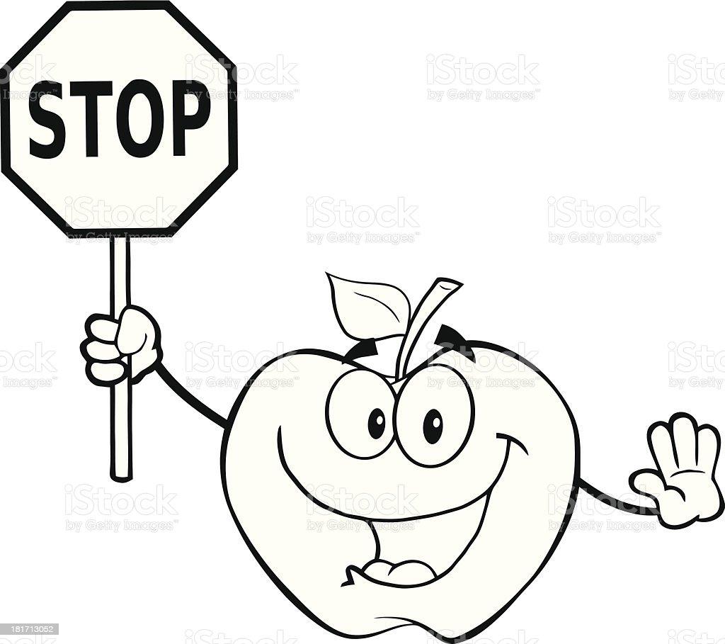 Ilustración de Blanco Y Negro Apple Mascot Organizar Una Señal De ...