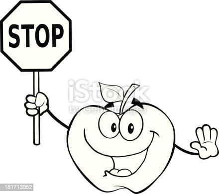 istock Blanco y negro Apple sostiene un cartel en blanco 181713030 ...