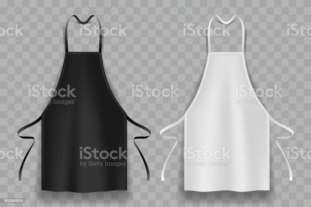 black and white apron vector art illustration