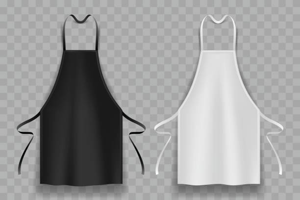black and white apron black and white apron in vector apron stock illustrations