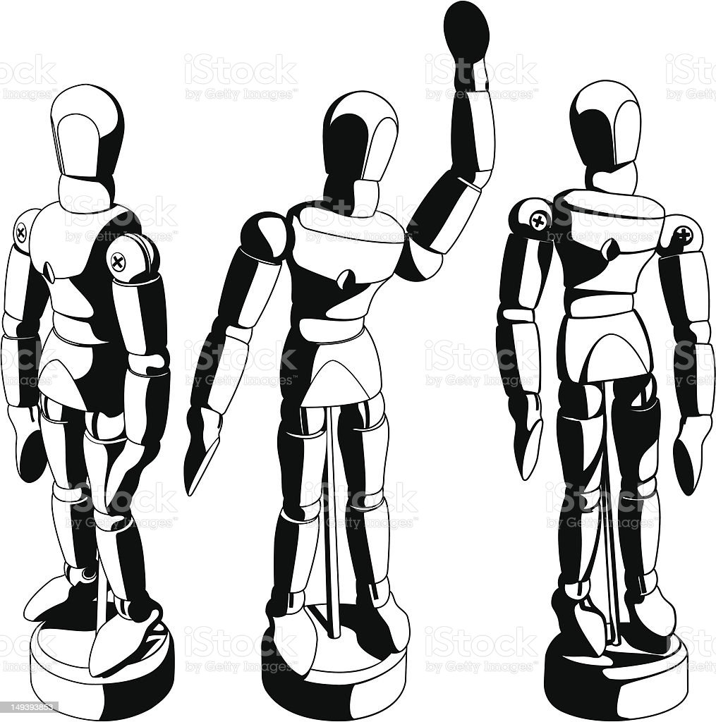Black and White Art Mannequin vector art illustration