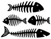 Black and white art with fish bones