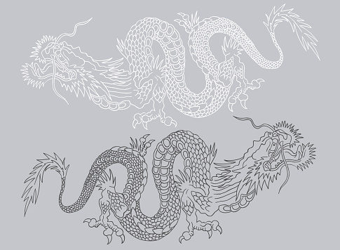 Black and white asian dragons.