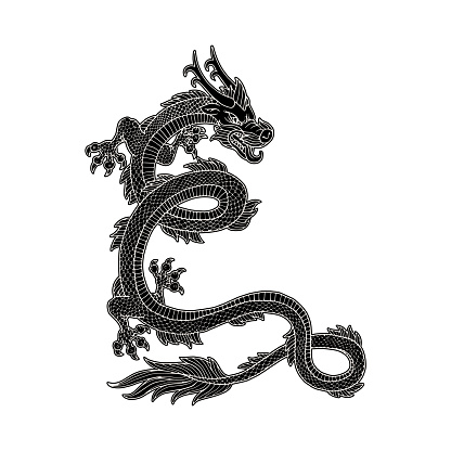 Black and white asian or chinese dragon cartoon vector illustration isolated.