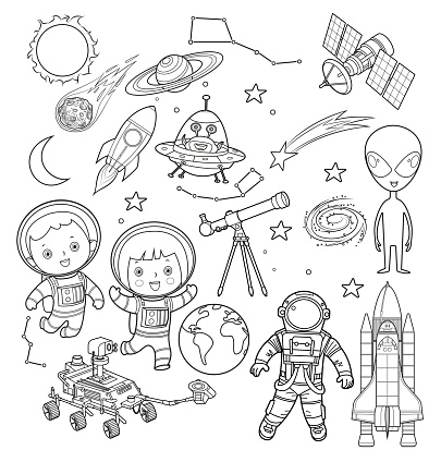 Black and white astronaut and space objects
