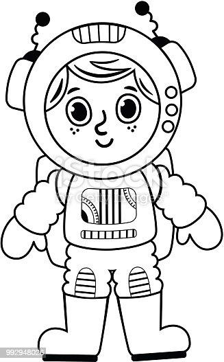 Ilustración de Niño Astronauta De Blanco Y Negro y más banco de ...