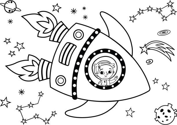 흑인과 백인 우주 비행사는 공간에 있는 여행. - 색칠하기 stock illustrations
