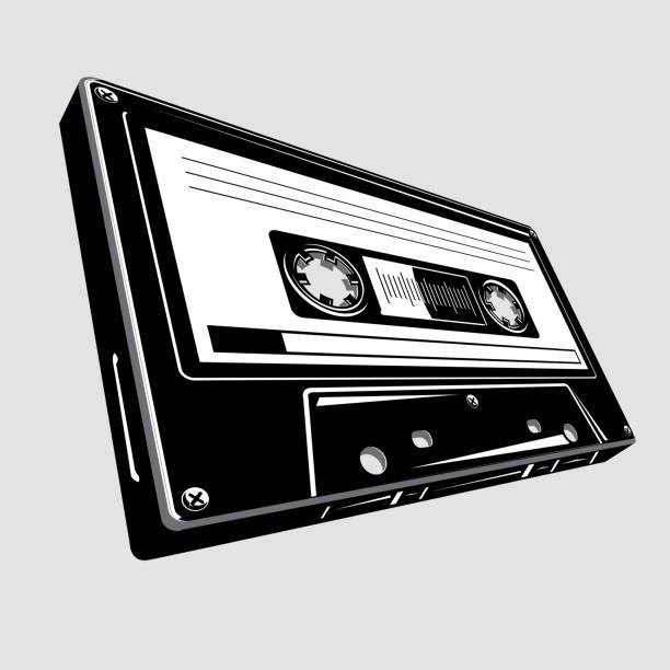 ilustrações, clipart, desenhos animados e ícones de gaveta audio preto e branco - fita cassete