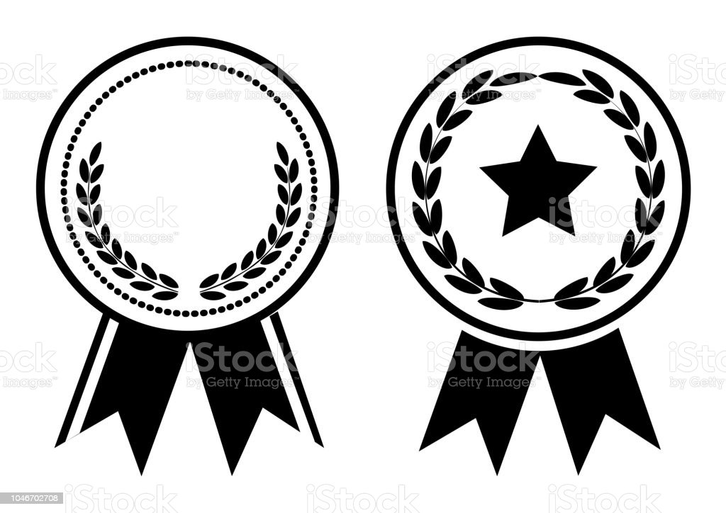 Ilustración De Premio Blanco Y Negro Medalla Con Cinta