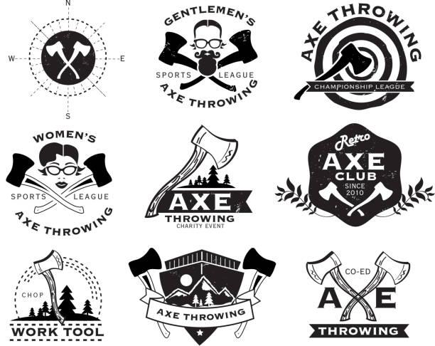 illustrations, cliparts, dessins animés et icônes de noir et blanc, le lancer de hache ensemble d'étiquettes ou badges - man axe wood