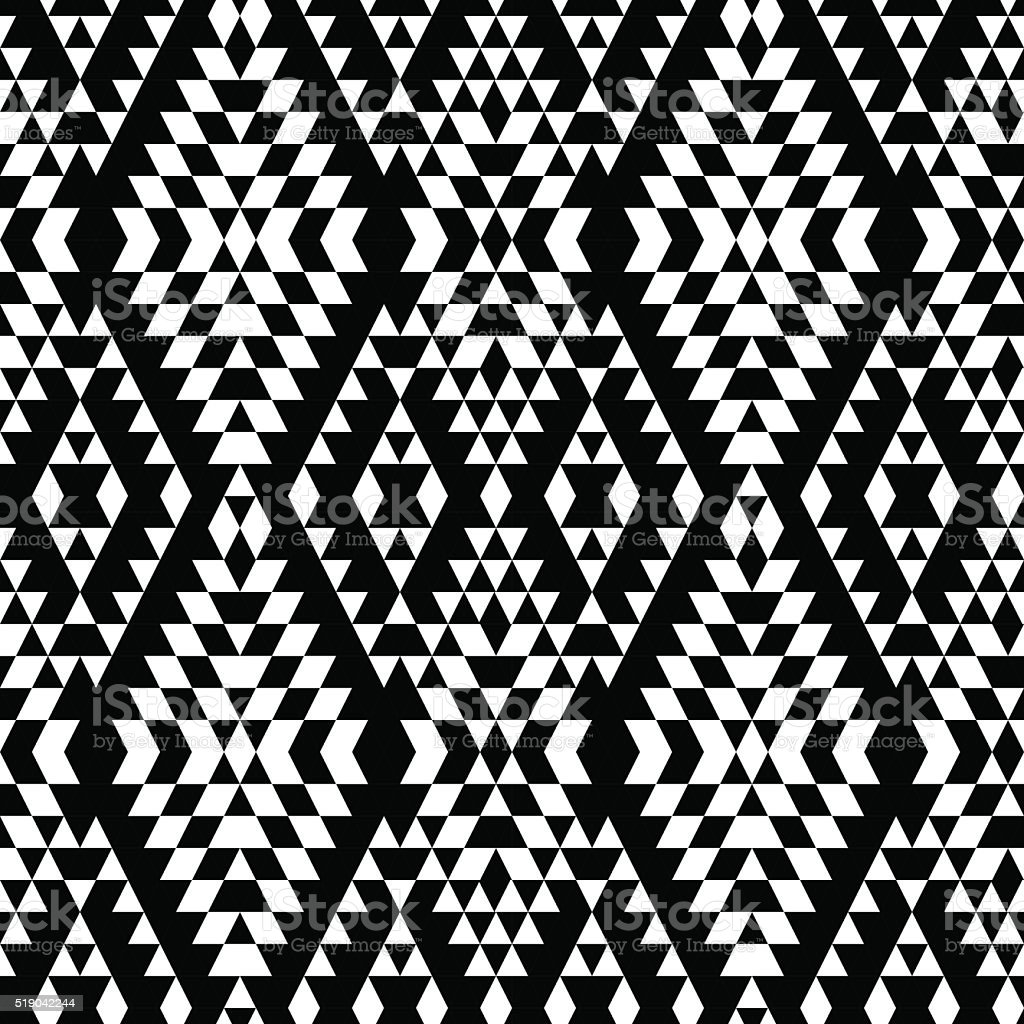 Black and white aztec striped ornaments geometric ethnic seamless pattern vector art illustration