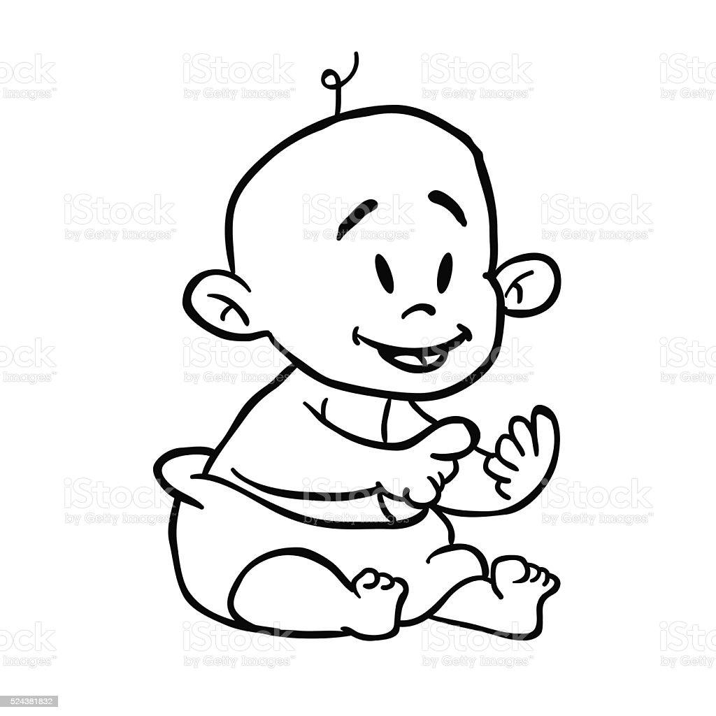 Schwarzweiß Baby Comic Stock Vektor Art Und Mehr Bilder Von Baby