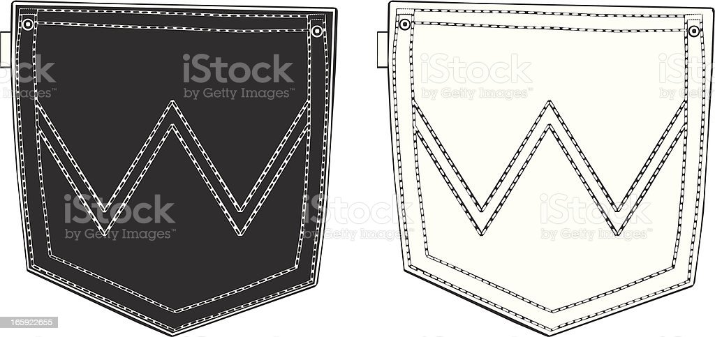 Black and White Back Pockets vector art illustration