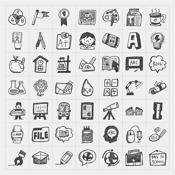 Black and white back to school doodles vector art illustration
