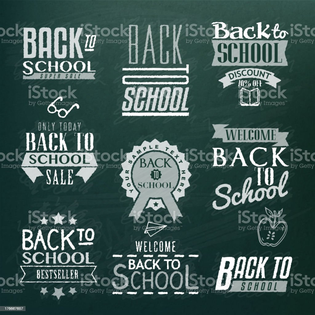 Black and white back to school icon designs royalty-free stock vector art