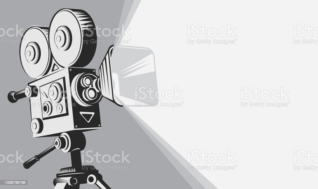 black and white backdrop with vintage movie camera royalty-free black and white backdrop with vintage movie camera stock illustration - download image now