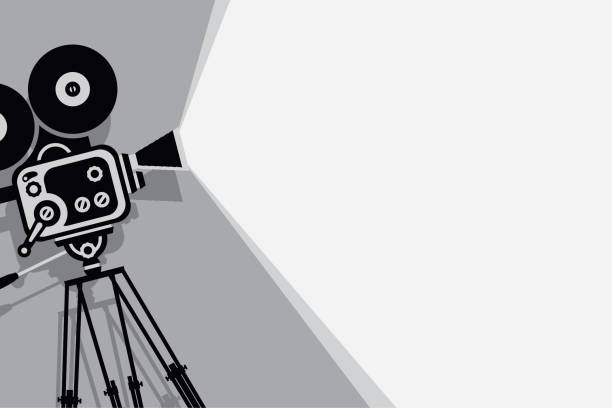 black and white backdrop with vintage movie camera Vector black and white background with lighting old fashioned movie camera on the tripod. Can used for banner, poster, web page, background premiere event stock illustrations