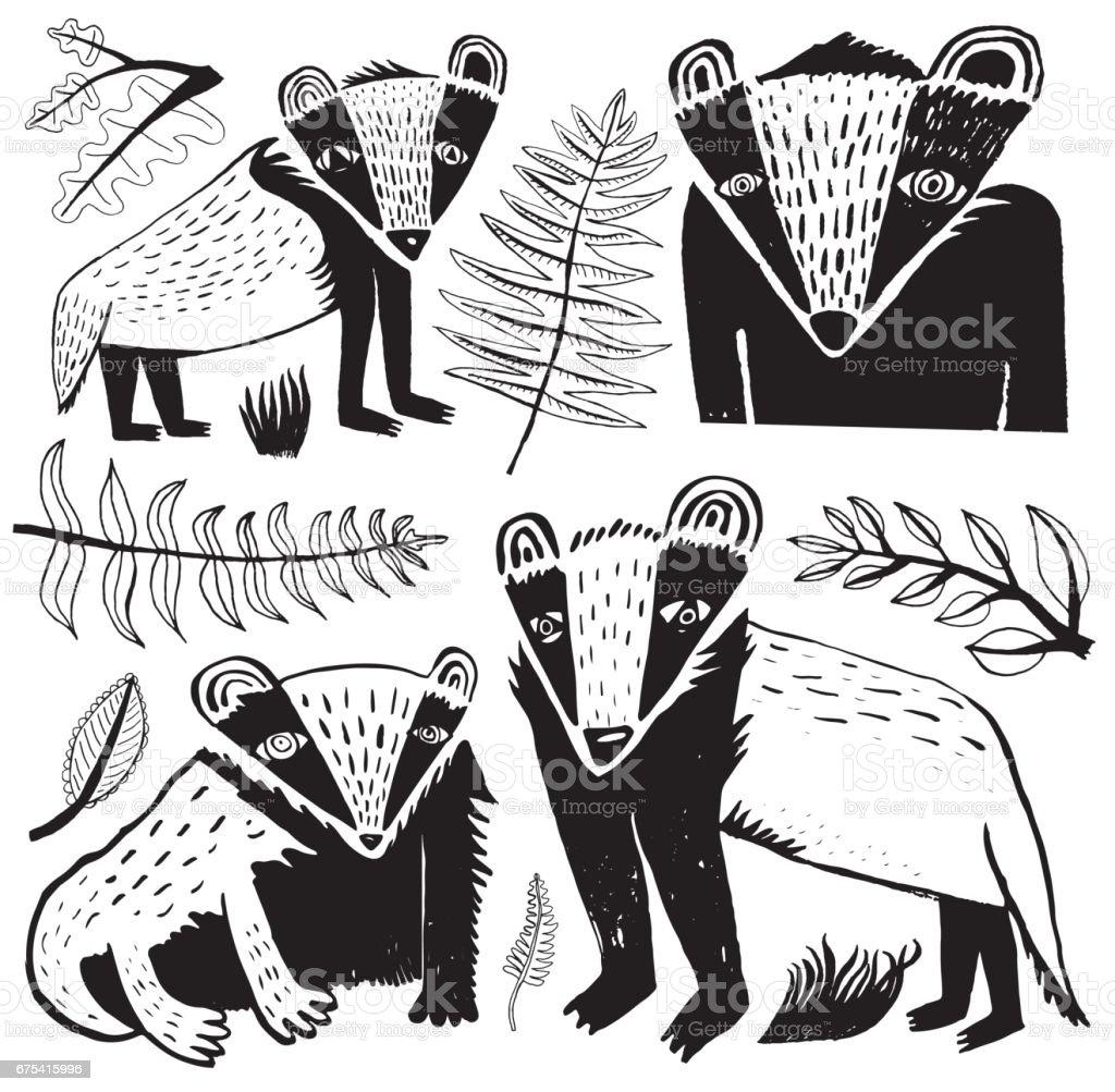 Black and white badger vector art illustration