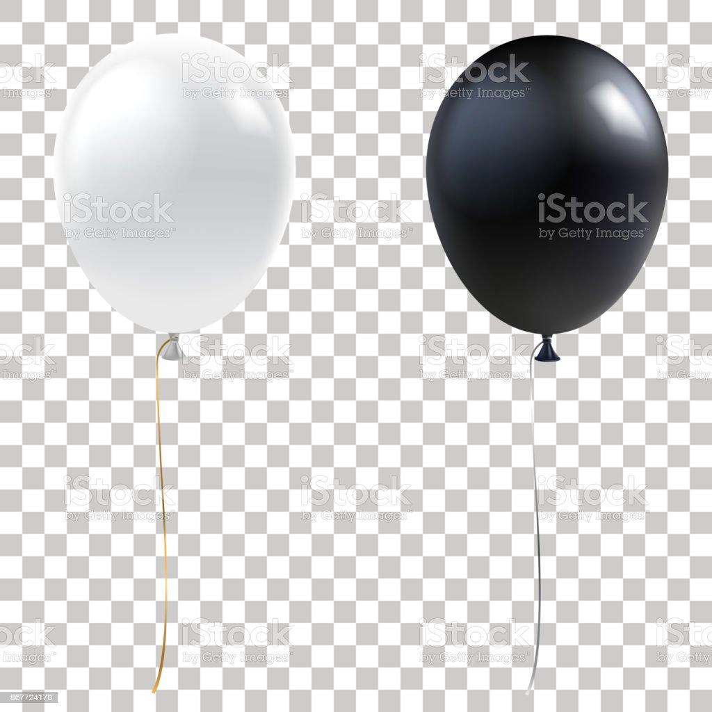 Ballons De Noir Et Blanc Ballons Dhélium Réaliste Isolés Sur