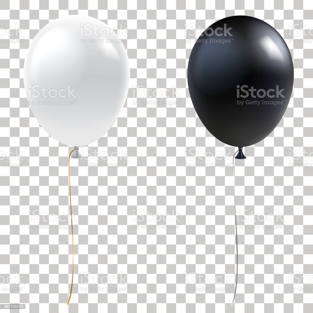 Black and white balloons. Realistic helium balloons isolated on transparent background. Holiday decoration element for events and promotions. Vector eps 10. vector art illustration