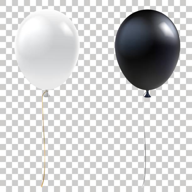 schwarze und weiße luftballons. realistische helium-ballons auf transparenten hintergrund isoliert. urlaub dekorationelement für events und promotions. vektor eps 10. - ballon stock-grafiken, -clipart, -cartoons und -symbole