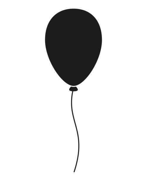 Black and white baloon silhouette Black and white baloon silhouette. Decorative party element. Birthday themed vector illustration for icon, stamp, label, certificate, brochure, gift card, poster, coupon or banner decoration birthday silhouettes stock illustrations