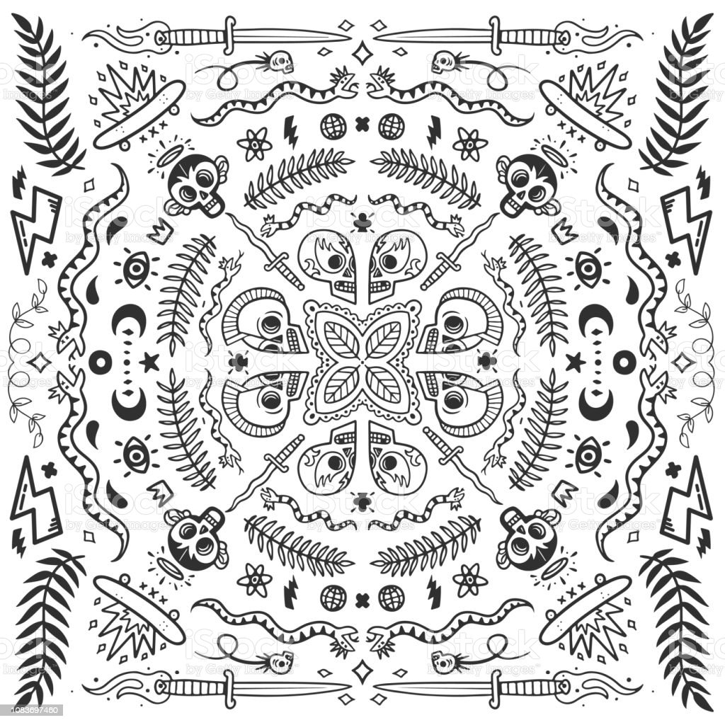 Black and white bandana old school tattoo elements in doodle style with snakes skulls skates and knifes vector illustration concept on white background