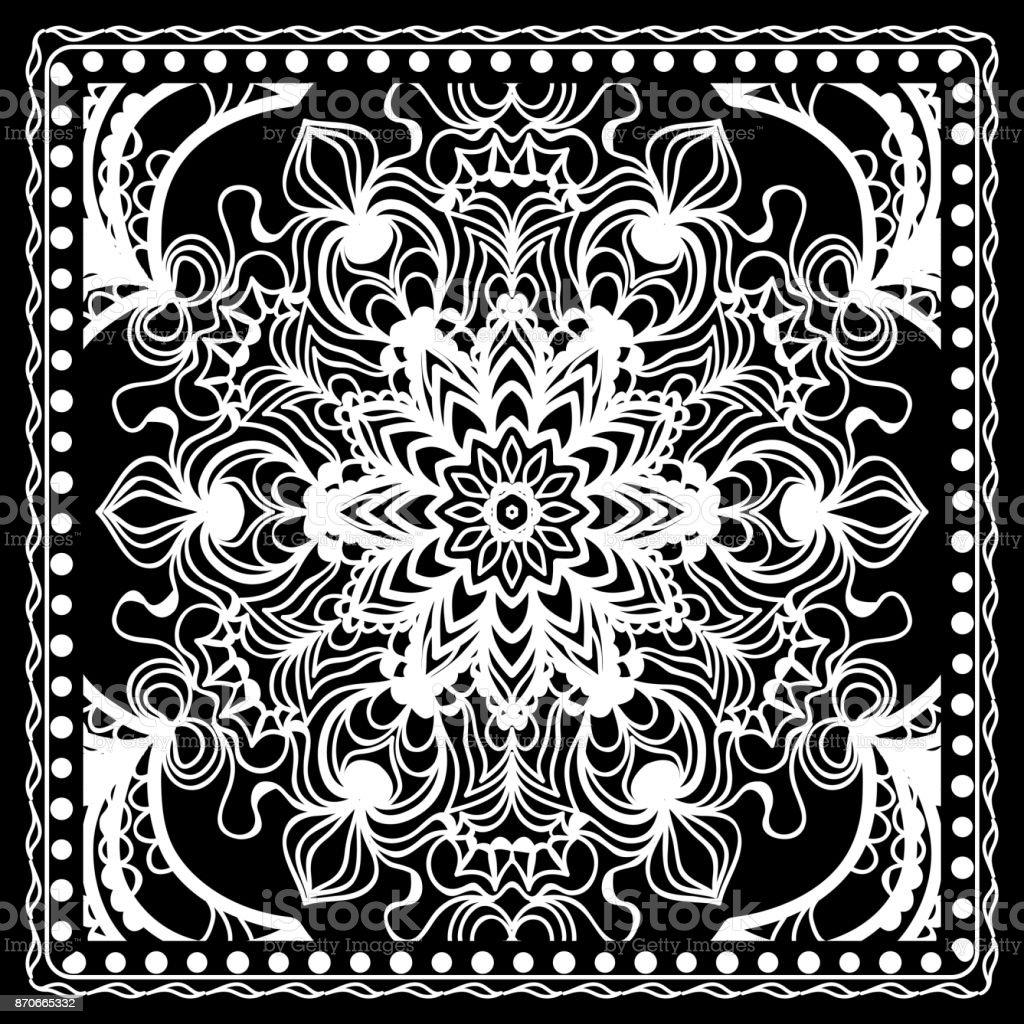 d6860300 Ilustración de Blanco Y Negro Impresión De Bandana Con El Patrón De ...