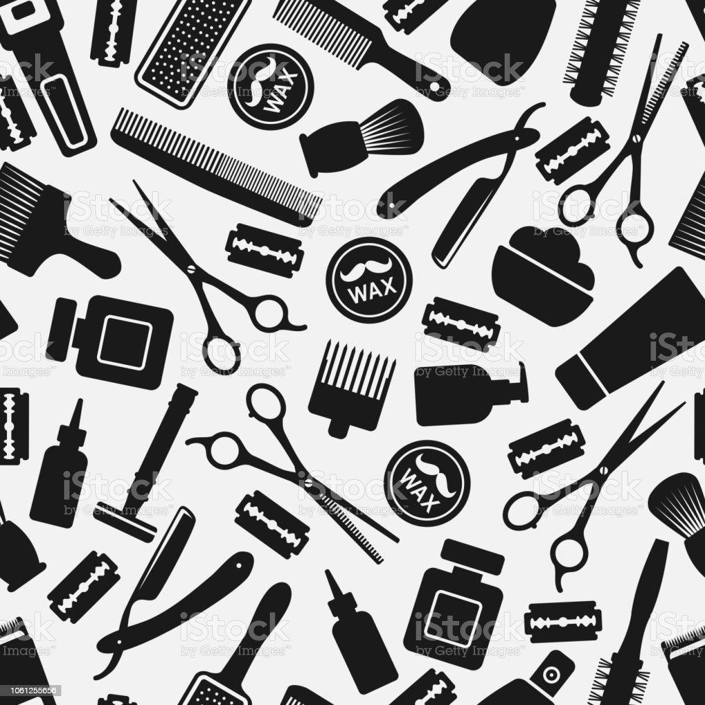 preto e branco padrão sem emenda barbearia - ilustração de arte em vetor