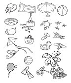Vector Black and White, Beach,  Group Of Objects, Icon