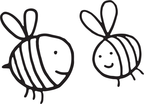 Black and white bee doodle