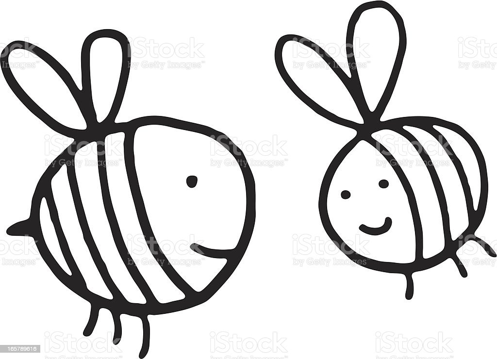Schwarze und weiße doodle Biene – Vektorgrafik