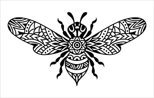 Black and white bee silhouette. Bumblebee mandala. Zentangle vector illustration.