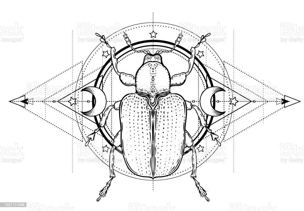 It's just a picture of Crazy Sacred Geometry Beetle Tattoo Drawing