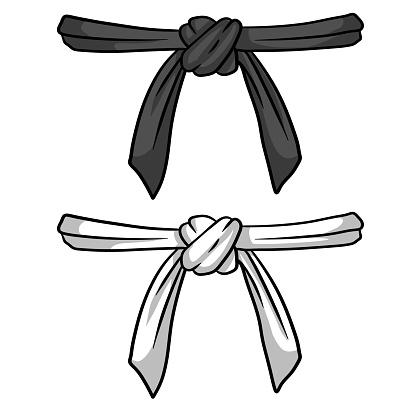 Black and white belt karate and judo. Oriental combat sport.