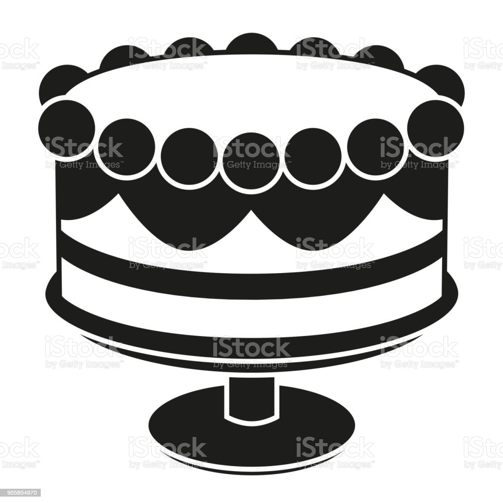 Black And White Birthday Cake On Stand Silhouette Stock Vector Art