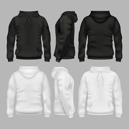 Black and white blank sweatshirt hoodie vector templates