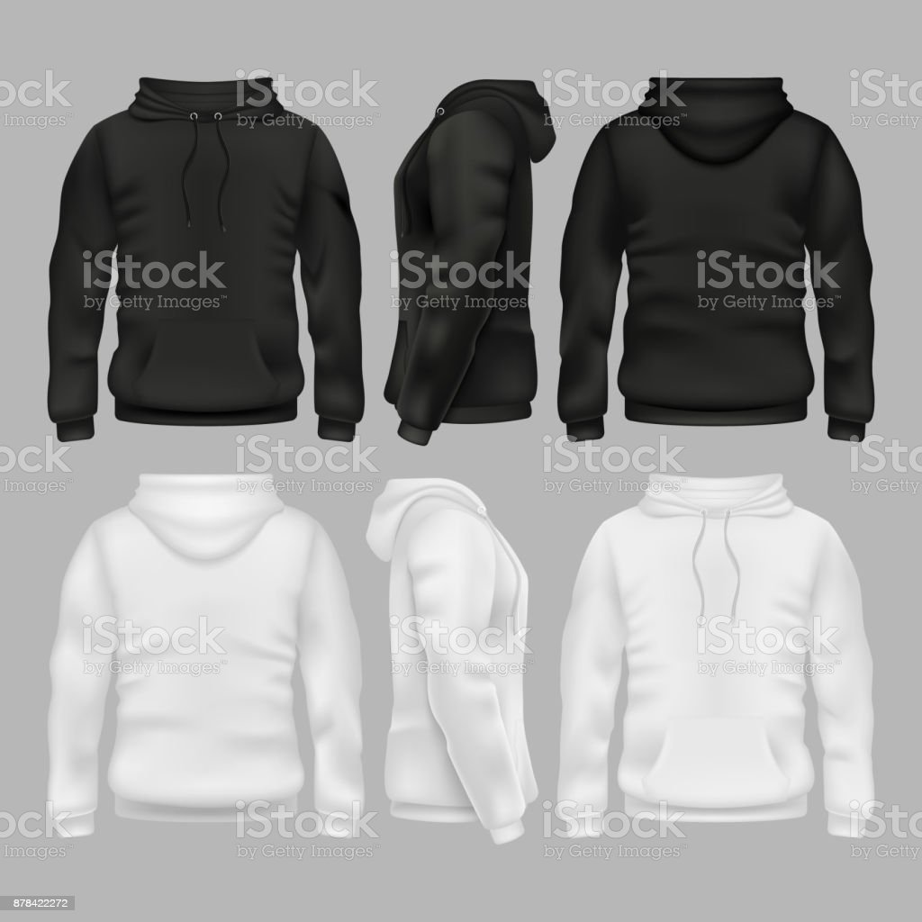 Black and white blank sweatshirt hoodie vector templates векторная иллюстрация