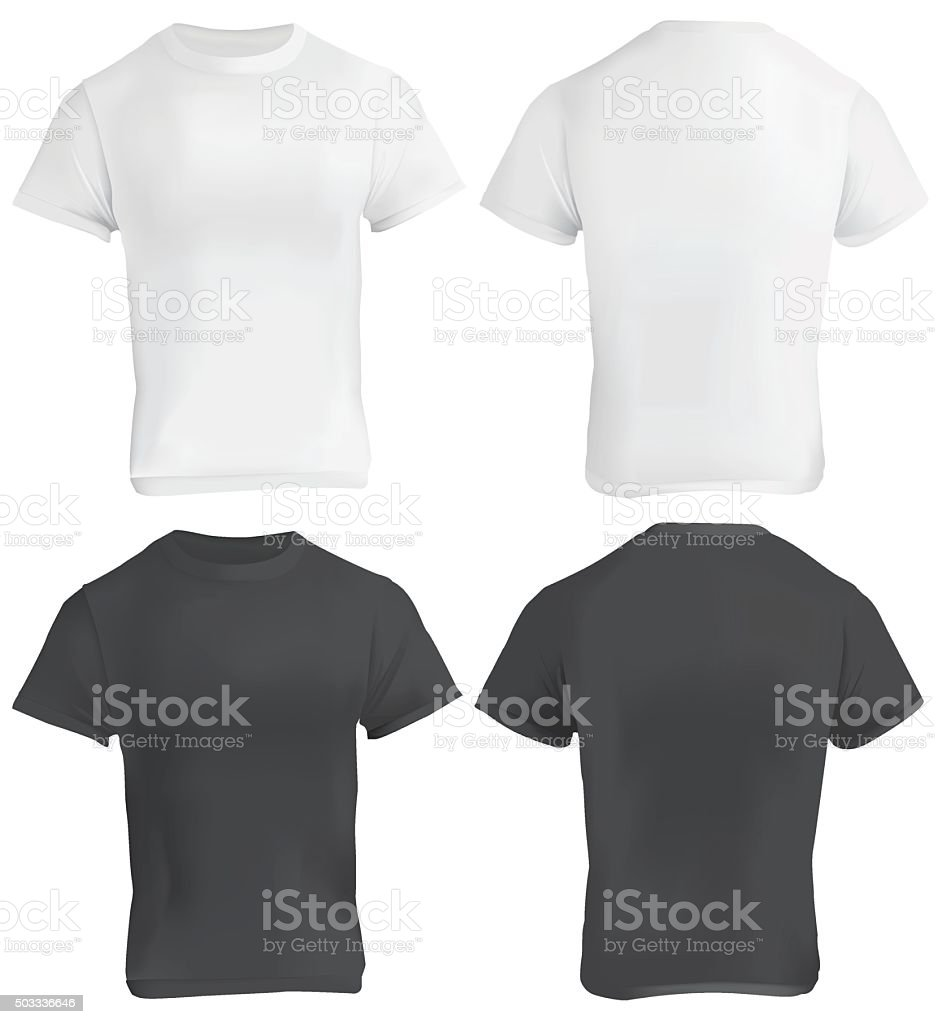 Black t shirt model template - Adult Males Men Model Object Textile Black And White Blank T Shirt Design Template