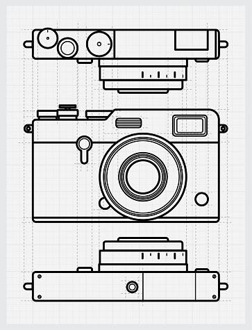 Black and white blueprint retro camera sketch