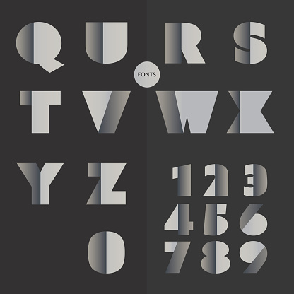 Black and White Bold Font Set Design - Letters and Numbers