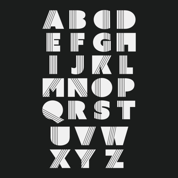 Black and White Bold Font Set Design – Vektorgrafik